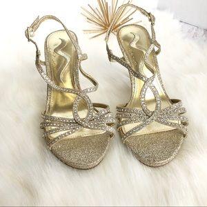 NINA Gold Glitter Rhinestone Strappy Heels